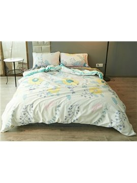 Fancy Doodle Flower and Leaves Print 4-Piece Cotton Duvet Cover Sets