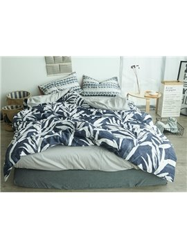 Fresh Pastoral Style Leaves Print 4-Piece Cotton Duvet Cover Sets