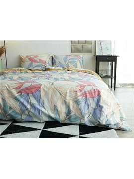 Amazing Colorful Leaves Print 4-Piece Cotton Duvet Cover Sets