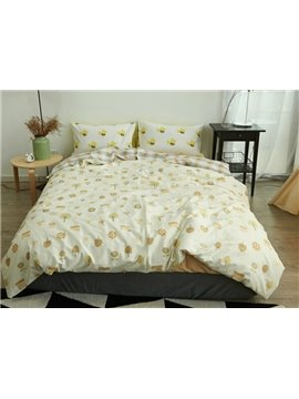 Doodle Flower and Leaves Print 4-Piece Cotton Duvet Cover Sets