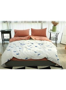 Lively Reindeer Print 4-Piece Cotton Duvet Cover Sets