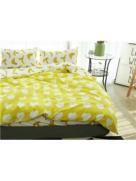 Likable Heart and Banana Print Reversible 4-Piece Cotton Duvet Cover Sets