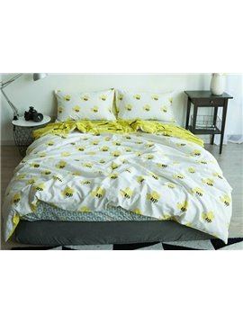 Lovely Honey Bee Print White 4-Piece Cotton Duvet Cover Sets