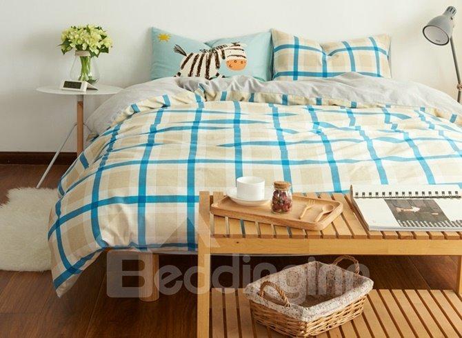 Unique Blue Plaid Print 4-Piece Cotton Duvet Cover Sets 12585667