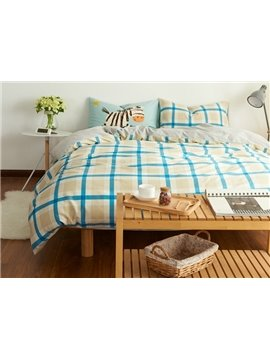 Unique Blue Plaid Print 4-Piece Cotton Duvet Cover Sets