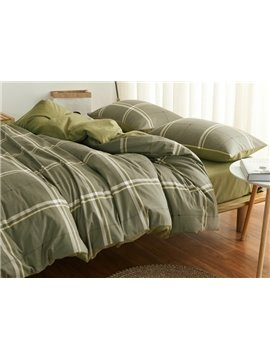 Neutral Plaid Design 4-Piece Cotton Duvet Cover Sets