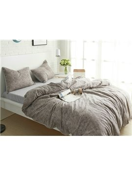 100% Cotton Solid Color 4-Piece Duvet Cover Sets