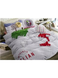 Stylish Map Print 4-Piece Cotton Duvet Cover Sets