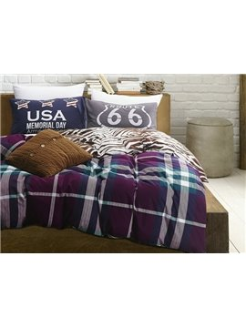 Luxury Plaid Print 100% Cotton 4-Piece Duvet Cover Sets