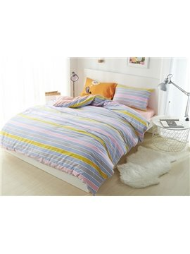 Colorful Stripe Print 4-Piece Cotton Duvet Cover Sets