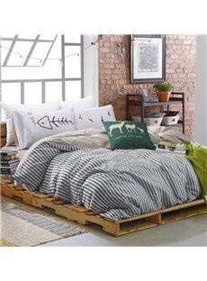 Unique Stripe Print 100% Cotton 4-Piece Duvet Cover Sets
