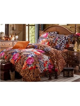 Sexy Leopard and Flower Print Brushed Cotton 4-Piece Duvet Cover Sets
