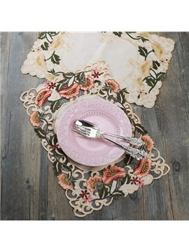 Embroidery Hollow Flower Design Heat Insulation Washable Dining Room Decorative Table Placemat