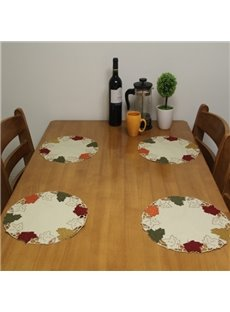 Round Shape Fabric Maple Prints 4 Pieces Heat Insulation Washable Dining Room Decorative Table Placemats