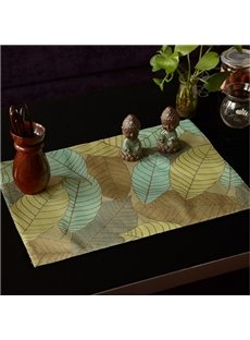Rectangle European Style Skid Resistant Heat Insulation Leaves Pattern Table Placemat