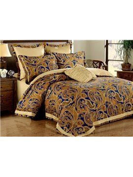 Retro Style Paisley Park Print 100% Egyptian Cotton 4-Piece Duvet Cover Sets