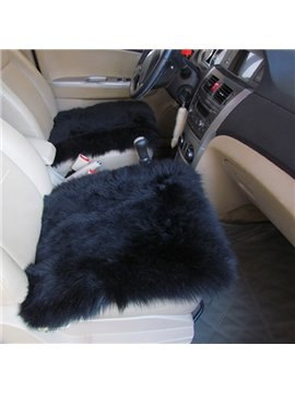 Classic Black Fashion Warm Wool Winter Single Car Seat Mat