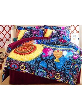 Bright Bohemian Style 4-Piece Duvet Cover Sets