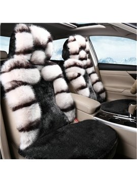 Winter Warm Plush Material Black White Mixing With 3D Style Universal Car Seat Cover