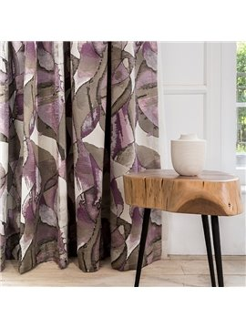 Contemporary Impressionism Pattern Thermal Jacquard Purple Custom Curtain