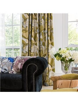 Contemporary Impressionism Pattern Thermal Jacquard Yellow Custom Curtain