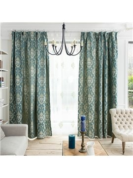 Concise European Style Jacquard Damask Pattern Custom Curtain