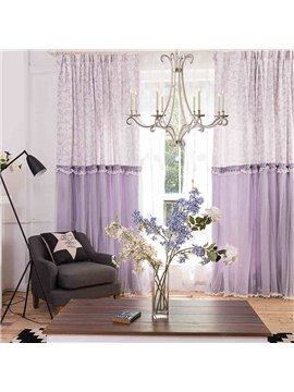 Dreamy Purple Romantic Chenille Jacquard and Embroidery Custom Curtain