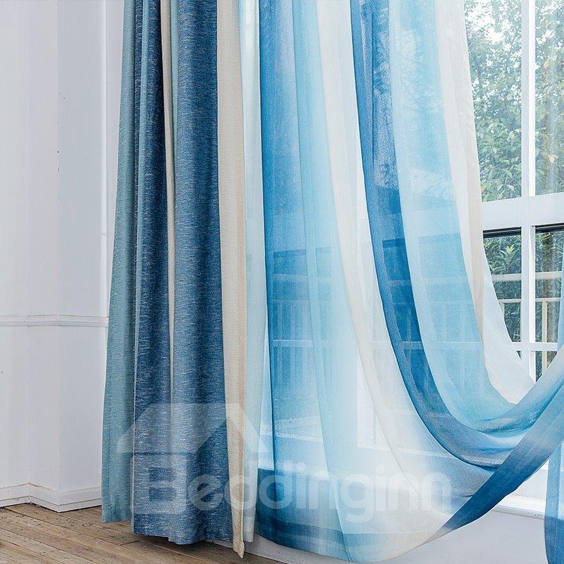Mediterranean Style Romantic Blue Stripes Window Treatment