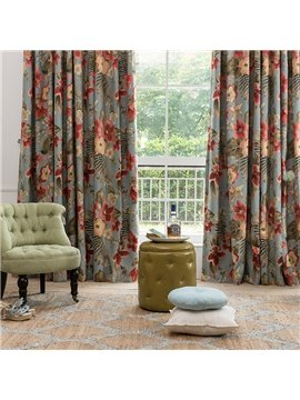 American Country Style Floral Jacquard Thermal Blackout Custom Curtain