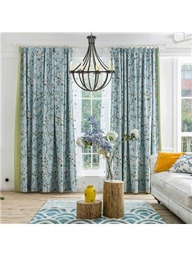 American Rustic Floral Thicken Blackout Custom Curtain