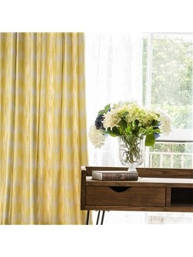 Contemporary Concise Geometric Printing Cotton & Linen Blending Custom Curtain