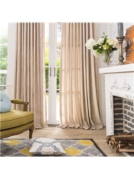 American Style Concise Solid Cotton Linen Blending Custom Curtain