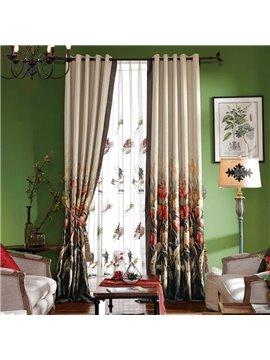 Concise Country Style Yarn-Dyed Jacquard Thicken Blackout Tulips Pattern Custom Curtain