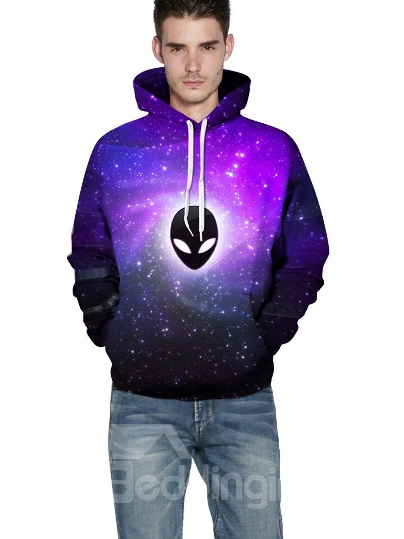 Long Sleeve Et Pattern Purple Galaxy Background 3d Painted