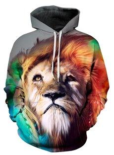 Cool Long Sleeve Lion King Pattern 3D Painted Hoodie