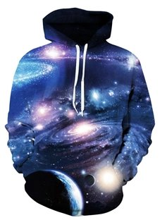Long Sleeve Mysterious Galaxy Pattern 3D Painted Hoodie