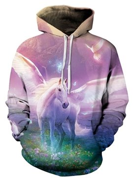 Long Sleeve Horse with Wing Pattern Pocket 3D Painted Hoodie