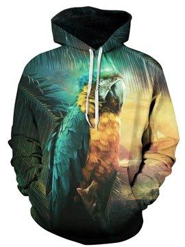 Colorful Long Sleeve Parrot Pattern 3D Painted Hoodie