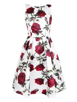 Pretty Sleeveless Round Neck Roses Pattern Two Colors for Choose 3D Painted Dress