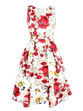 Lovely Sleeveless Round Neck Azalea with Chrysanthemum Pattern White 3D Painted Dress