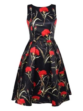 Charming Sleeveless Round Neck Flowers Pattern Black 3D Painted Dress