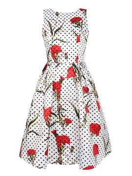 Fabulous Sleeveless Round Neck Flowers Pattern Polka Dots 3D Painted Dress