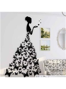 Modern Fashion Acrylic Pretty Butterflies Girl Design Home Decorative 3D Wall Stickers