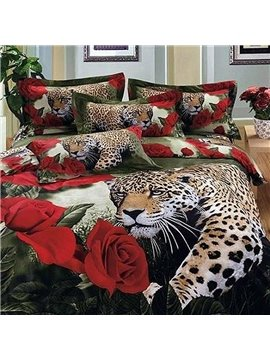 Luxury Leopard and Roses Print 2-Piece Cotton Pillow Cases