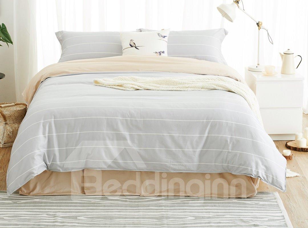 Light Gray Stripe Print 100% Cotton 4-Piece Duvet Cover Sets