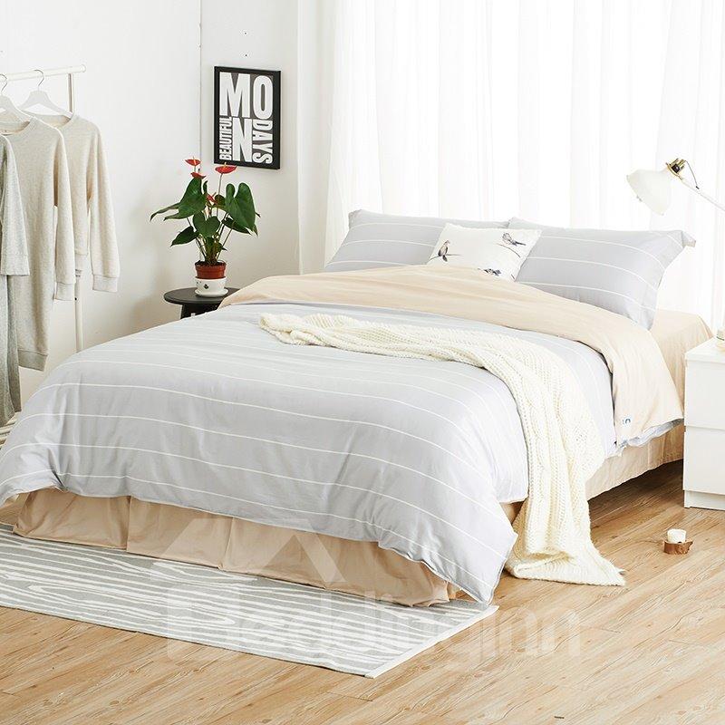 light gray stripe print 100 cotton 4 piece duvet cover sets. Black Bedroom Furniture Sets. Home Design Ideas