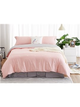 Cozy Pink Polka Dot Print 4-Piece Duvet Cover Sets
