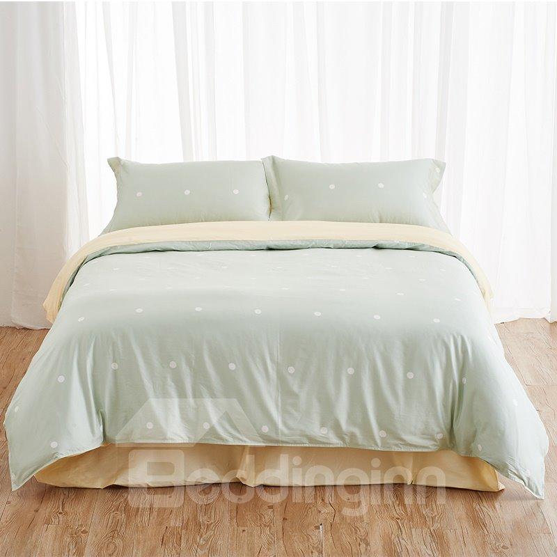fresh green polka dot print 4 piece duvet cover sets. Black Bedroom Furniture Sets. Home Design Ideas
