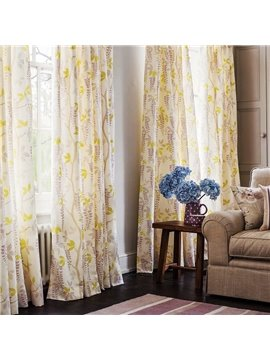 Rustic Floral Printing Linen and Cotton Blending Custom Curtain