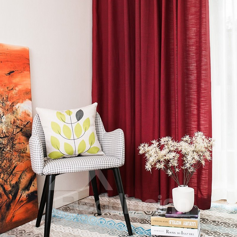 Contemporary Concise Solid Linen Grommet Top Custom Curtain 12666565